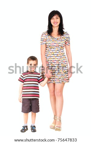 Mother and son walking in summer clothes isolated on white
