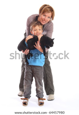 mother and son with cat isolated on white background