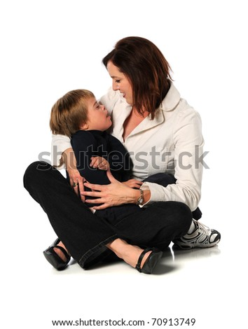 Mother and son with Down Syndrome isolated over white background