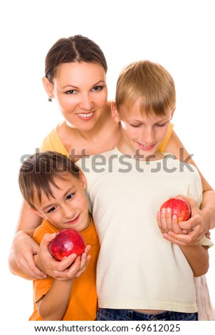 mother and sons on a white background