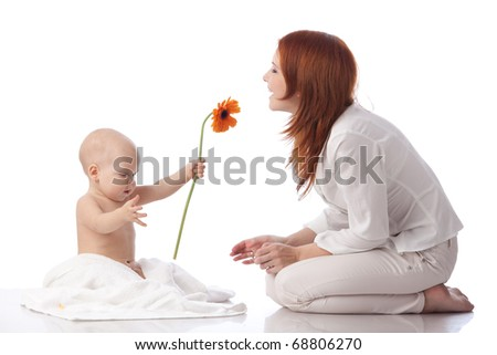 Mother and sweet small baby with flower on a white background.