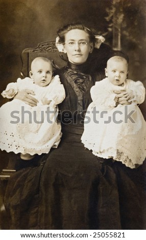 mother and twins vintage...