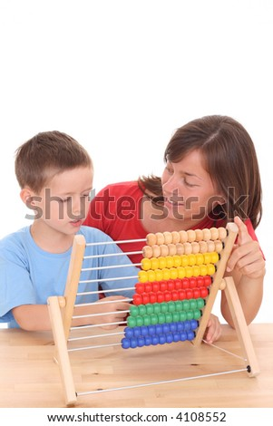 mother and 5-6 years old boy with big abacus isolated on white