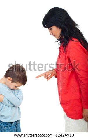 Mother argue her naughty son and he feels guilty andlet the head down isolated on white background