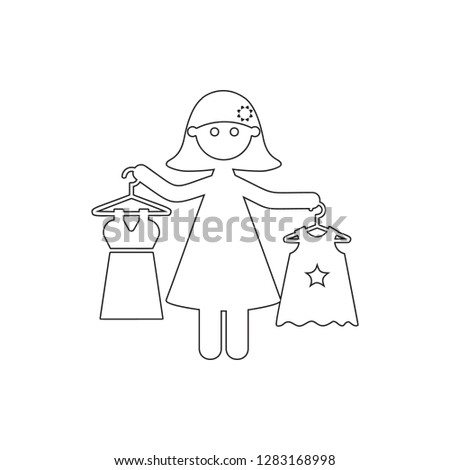 mother buys daughter's clothes icon. Element of Family for mobile concept and web apps icon. Thin line icon for website design and development, app development