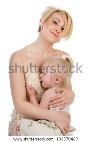 Mother comforting her crying little girl - parenthood concept.  isolated on white background
