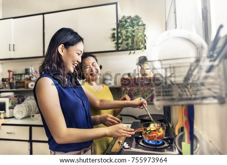 Mother Daughter Casual Adorable Heppiness Life Concept