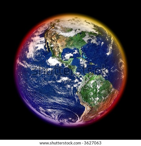 mother earth with colorful halo against black