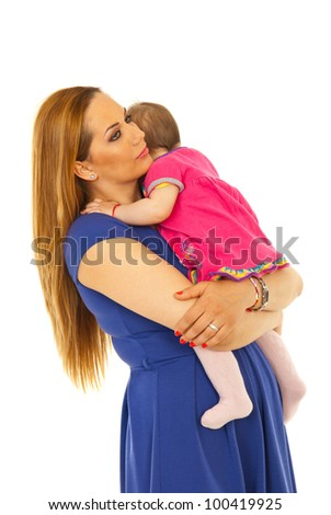 Mother embracing her  baby girl and looking away isolated on white background