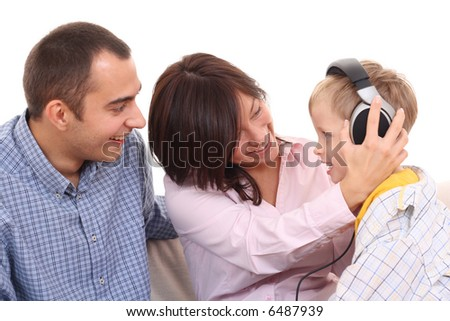 mother father and son listen to music leisure activity stock photo 6487939 shutterstock. Black Bedroom Furniture Sets. Home Design Ideas
