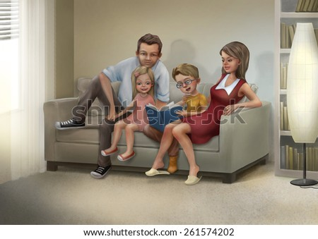 Mother, father, son and daughter are sitting on a sofa and reading a book. Raster illustration.