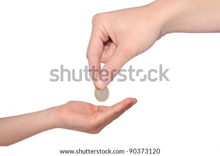 mother giving pocket money to son