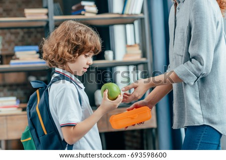 mother giving school lunch to her little cute son