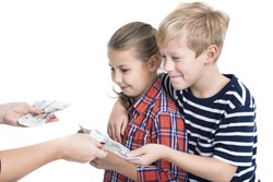 Mother giving to happy son and daughter pocket-money, isolated white background