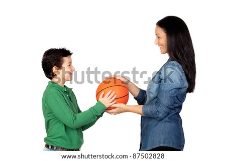 Mother handing a basketball to his son isolated on white background