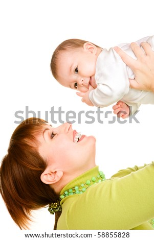 Mother happy to hold baby in hands
