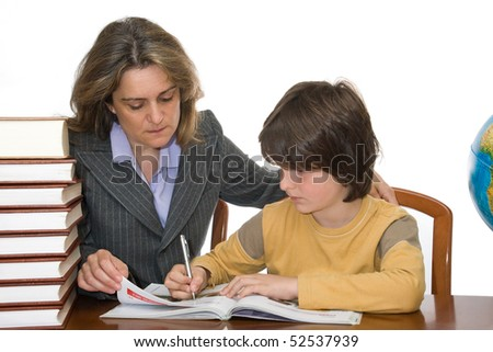 Mother helping her child with homework