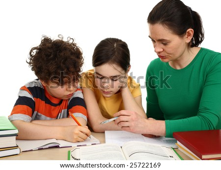 Mother helping her kids do homework isolated on white background
