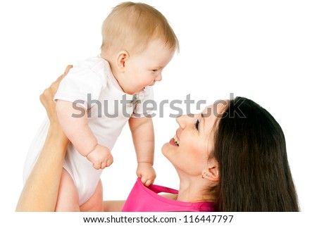 mother holding a baby