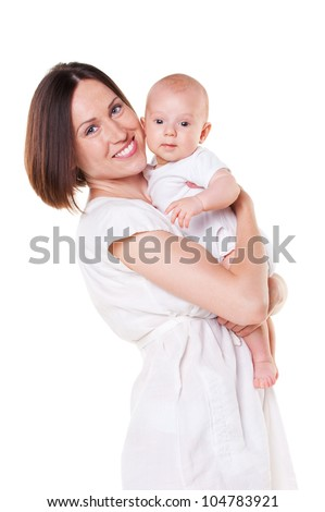 mother holding her son. isolated on white