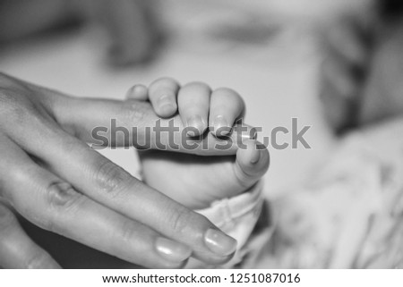 Mother holding newborn tiny and soft skin baby hand in both of hands. Love and affection concept. Maternity and health theme. #1251087016