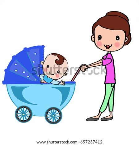 Mother in blue stroller with boy baby Stok fotoğraf ©
