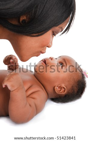 mother kiss 3-month old smiling baby girl  on white background - stock photo