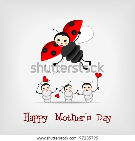 mother ladybug with three babies and text HAPPY MOTHER'S DAY - bitmap illustration