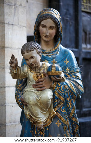 Mother Mary with Child Jesus; statue in the Saint Peters church in Leuven, Belgium.