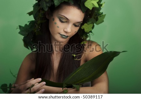 Mother nature holding something; you can put your object on the leaf