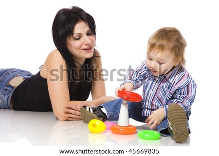 Mother playing with son isolated on white