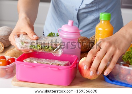 Mother preparing for her children lunch box