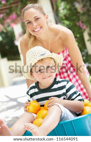 Mother Pushing Son In Wheelbarrow Filled With Oranges