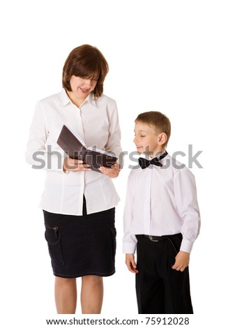 Mother reading book to her son isolated on white