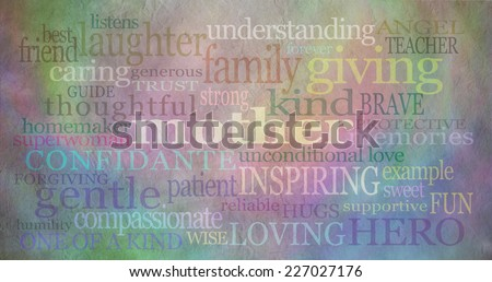 Mother\'s day background banner  -   Background with rustic parchment effect and loving words surround the main word \'mother\' and pastel coloring