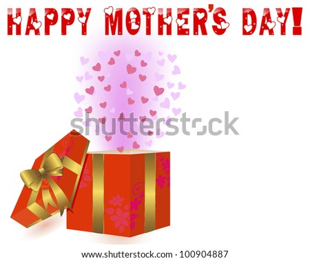 Mother's Day background with a gift box and a gold bow. Raster version.