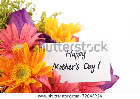 Mother\'s Day Concept-- Post card with colorful flowers.