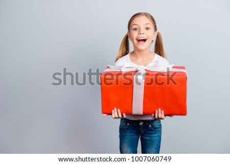 Mother's day fashion beauty leisure face growing-up sale discount relationship concept. Astonished amazed wondered lovely with ponytails sweet girl holding huge wrapped box isolated on gray background #1007060749