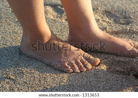 mother's feet on the sand