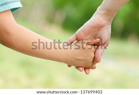 Mother's love in the hand, on the palm