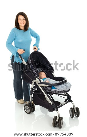 Mother take a walk with baby in pram, Isolated on white background