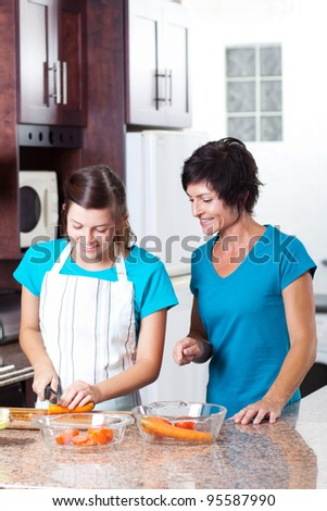 mother teaching teen daughter cooking in kitchen
