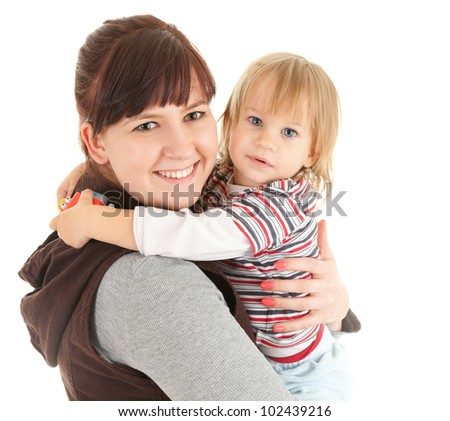 mother with baby in her arms, white background