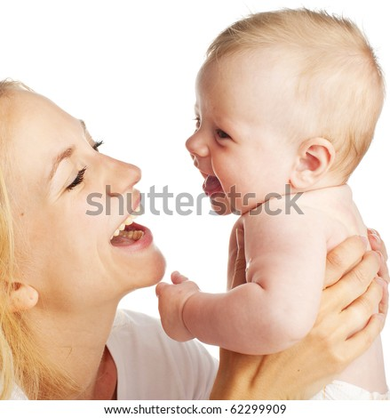 Mother with baby isolated on white