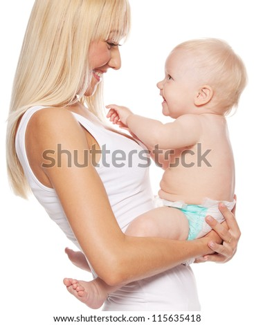 Mother with baby isolated on white. Happy family with newborn.