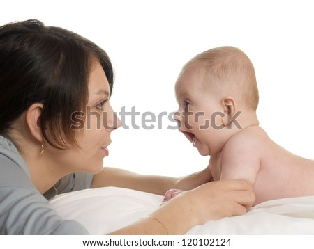 mother with baby on isolated white background