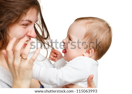 Mother with baby on white
