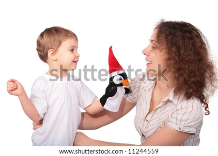 mother with child and toy - stock photo