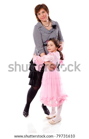Mother with daughter standing together isolated on white