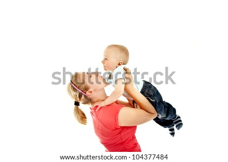 mother with her son playing